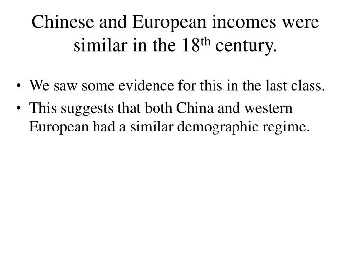 Chinese and European incomes were similar in the 18