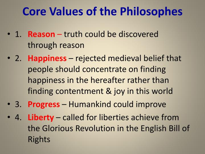 Core values of the philosophes