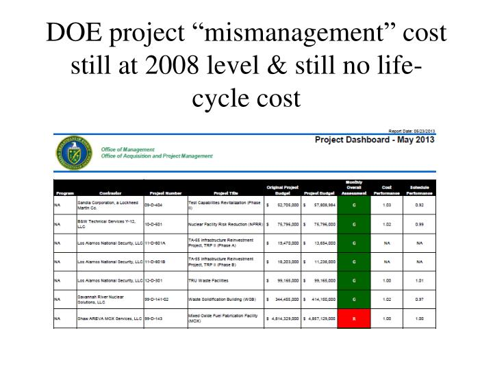 "DOE project ""mismanagement"" cost still at 2008 level & still no life-cycle cost"