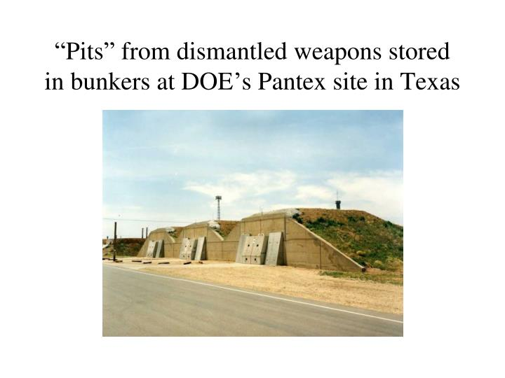 """Pits"" from dismantled weapons stored in bunkers at DOE's Pantex site in Texas"