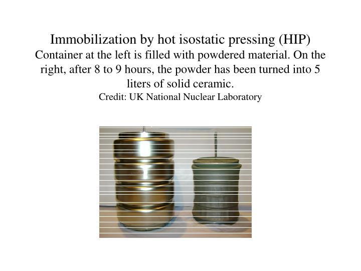 Immobilization by hot isostatic pressing (HIP)