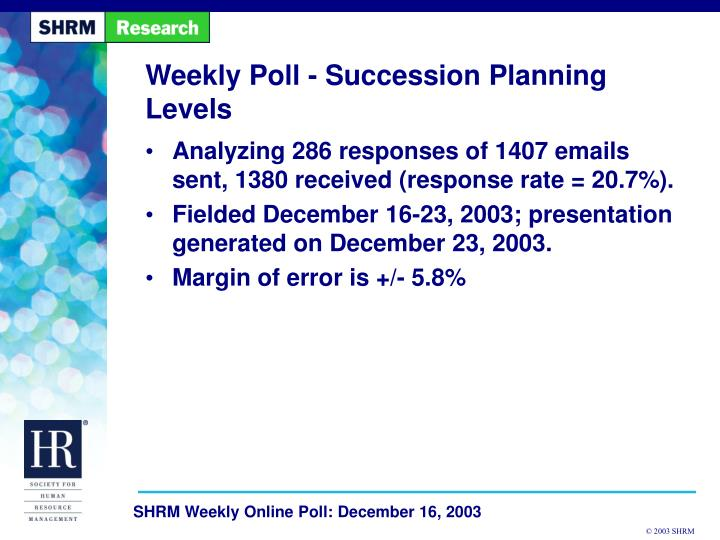 weekly poll succession planning levels