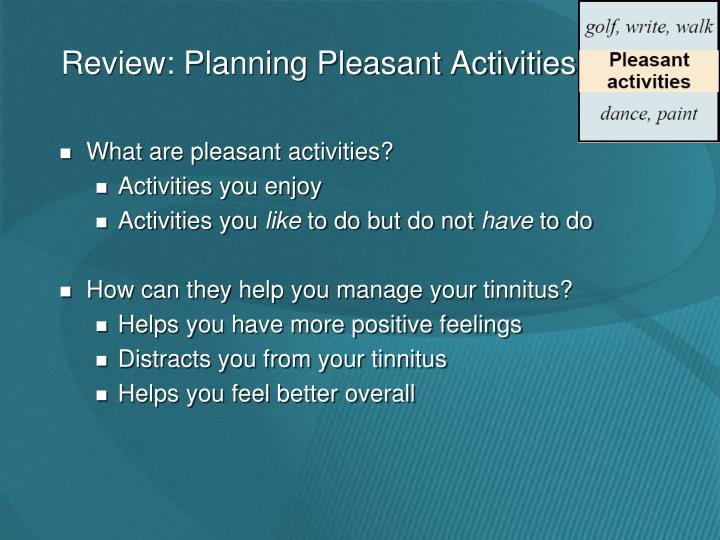 Review: Planning Pleasant Activities