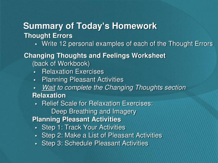 Summary of Today's Homework