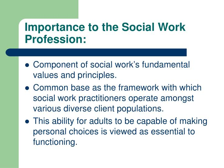 Importance to the social work profession