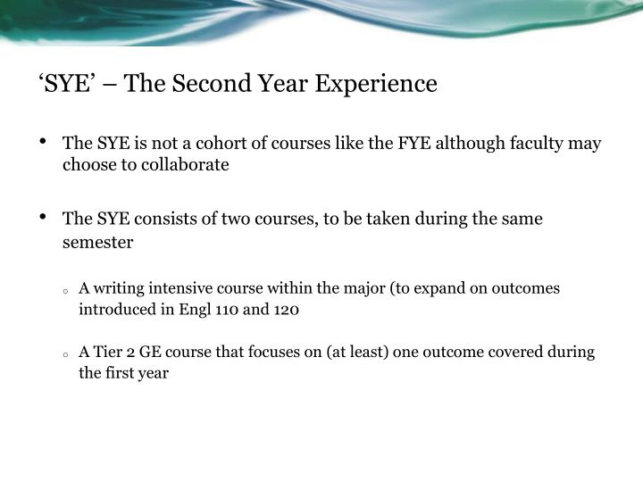 'SYE' – The Second Year Experience