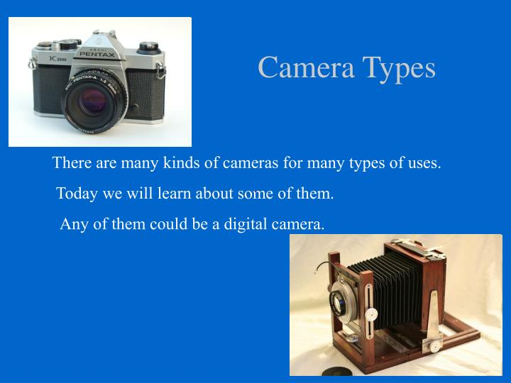 types of camera With all the different digital cameras and options available, understanding how they differ could help you decide which camera is right for you.