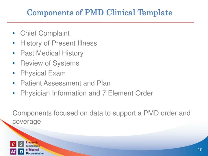 Components of PMD Clinical Template