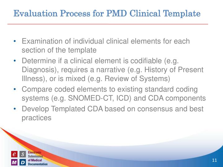 Evaluation Process for PMD Clinical Template