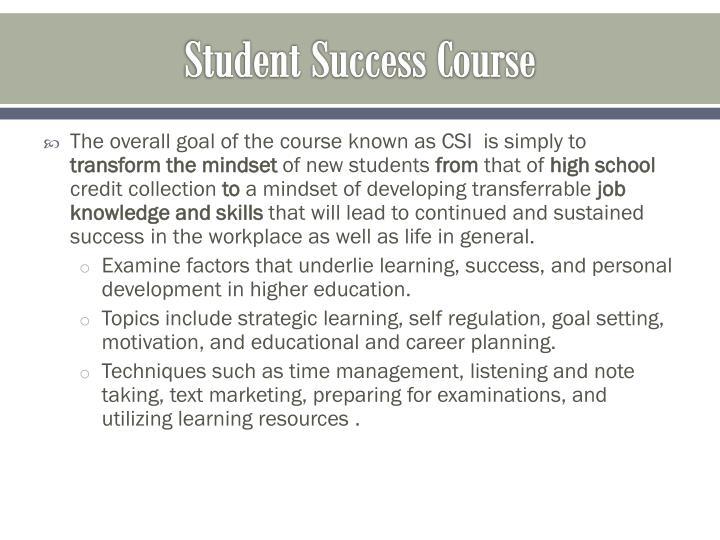 Student Success Course