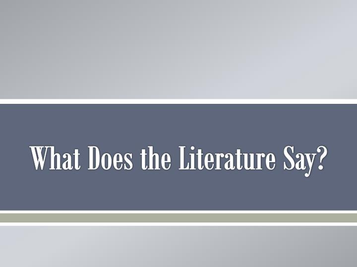What Does the Literature Say?