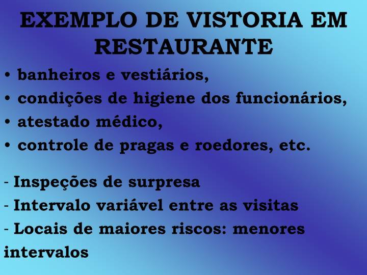 EXEMPLO DE VISTORIA EM RESTAURANTE