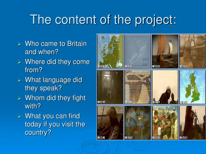 The content of the project:
