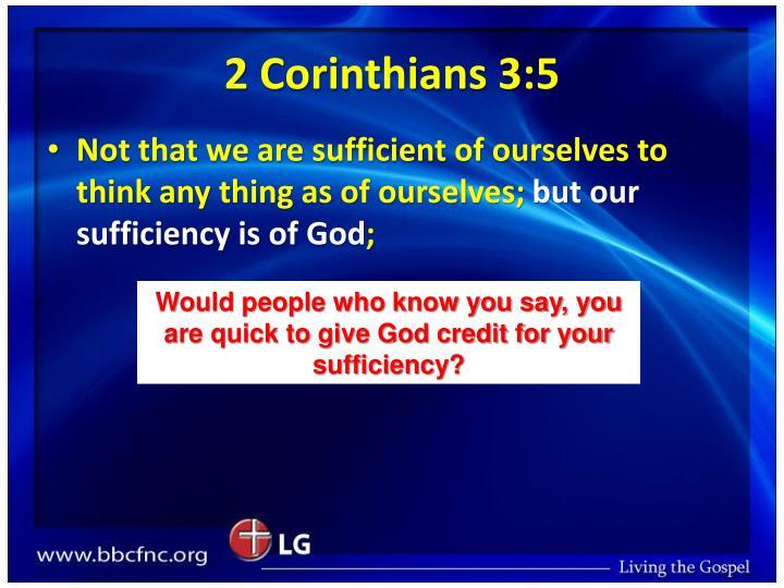 2 Corinthians 3:5