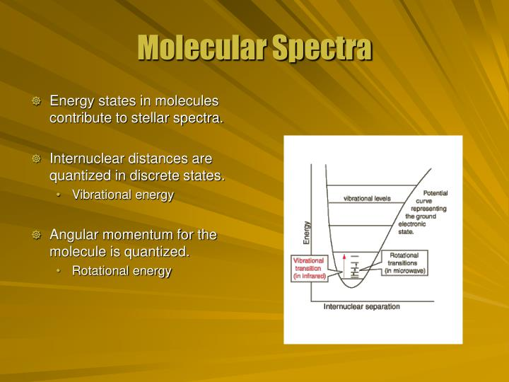 Energy states in molecules contribute to stellar spectra.