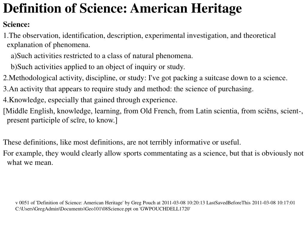 ppt - definition of science: american heritage powerpoint