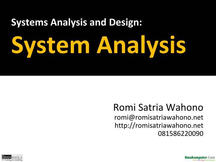 systems analysis and design system analysis n.