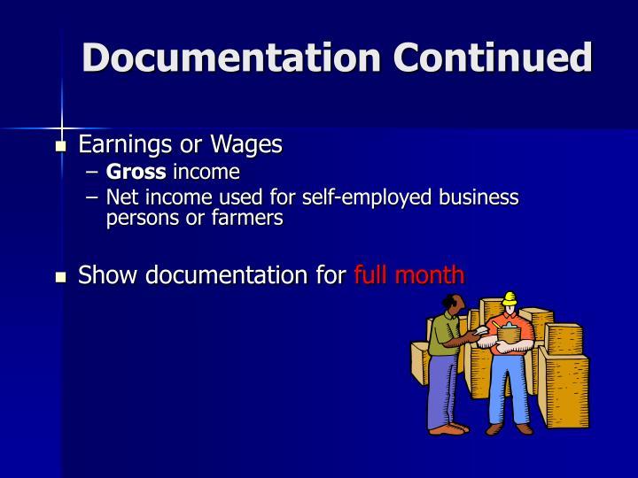 Documentation Continued