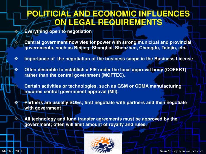 POLITICIAL AND ECONOMIC INFLUENCES