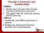 principle 3 autonomy and confidentiality