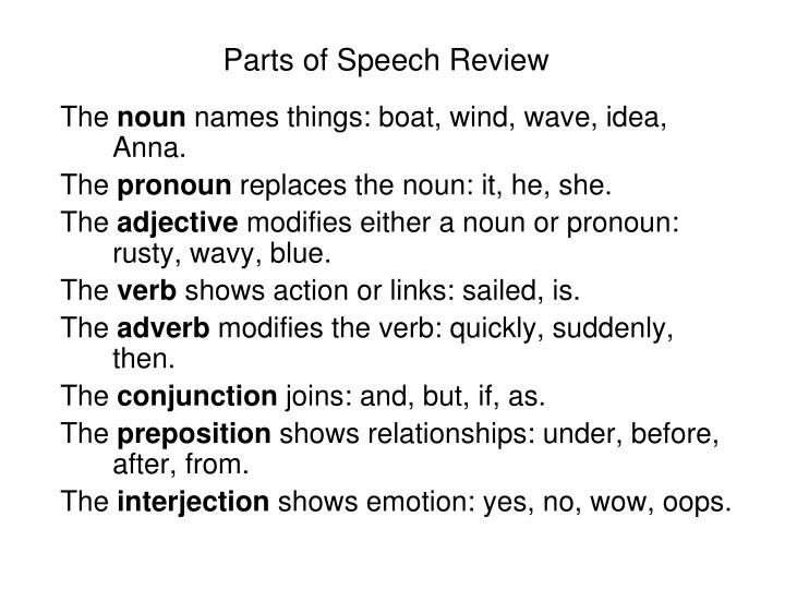 parts of speech review n.