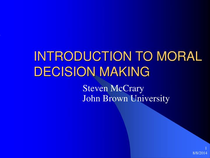 introduction to moral decision making n.