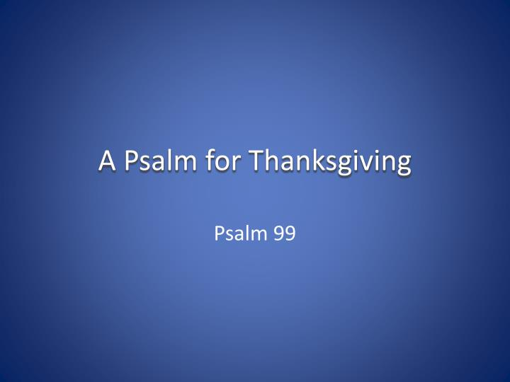 a psalm for thanksgiving n.