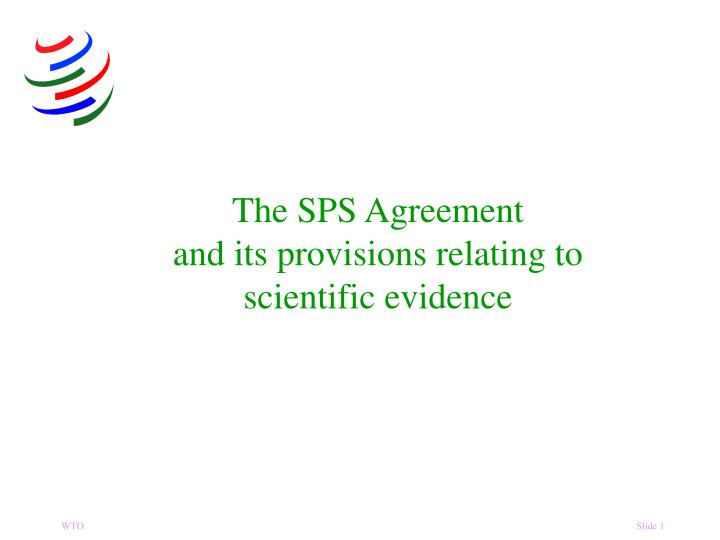 the sps agreement and its provisions relating to scientific evidence n.