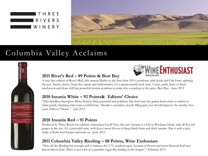 Columbia Valley Acclaims
