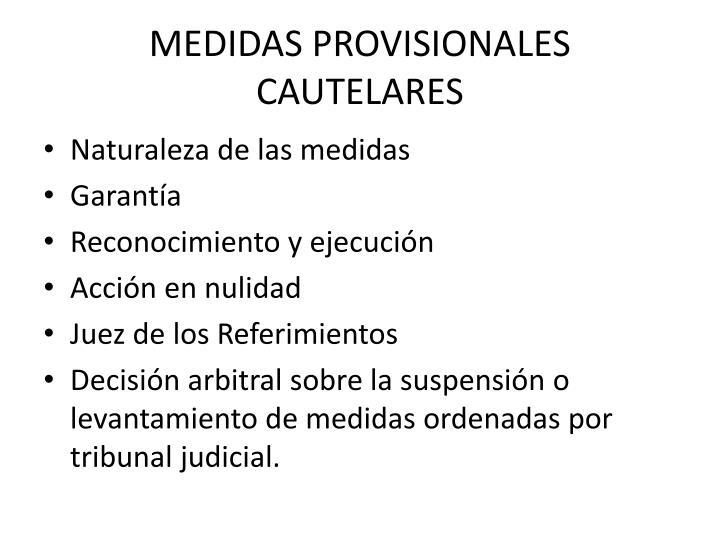 MEDIDAS PROVISIONALES CAUTELARES