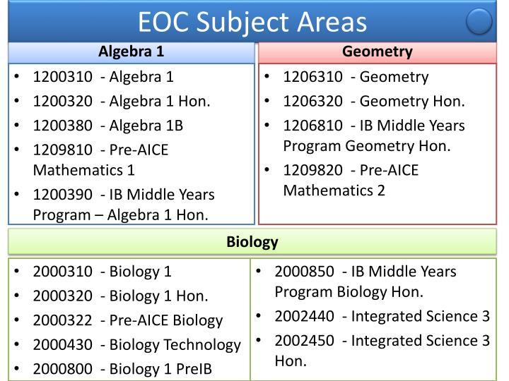 EOC Subject Areas