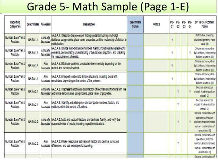 Grade 5- Math Sample (Page 1-E)