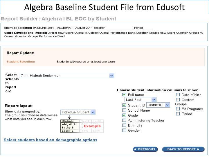 Algebra Baseline Student File from