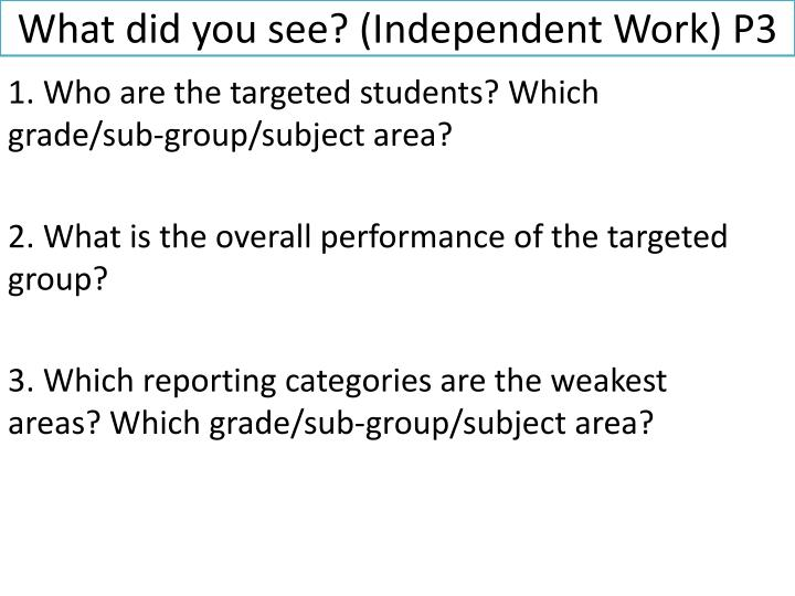 What did you see? (Independent Work) P3