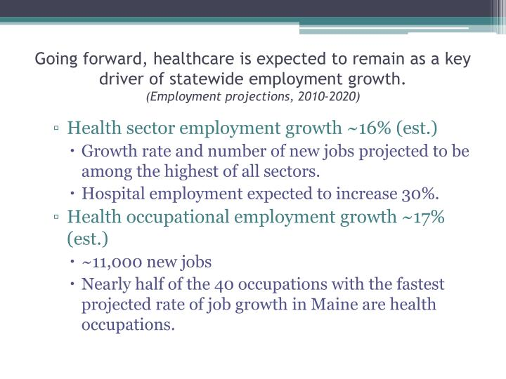 Going forward, healthcare is expected to remain as a key driver of statewide employment growth.