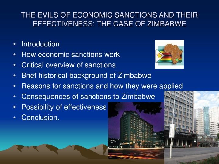the evils of economic sanctions and their effectiveness the case of zimbabwe n.
