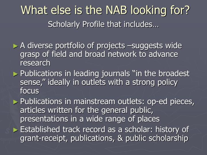 What else is the NAB looking for?