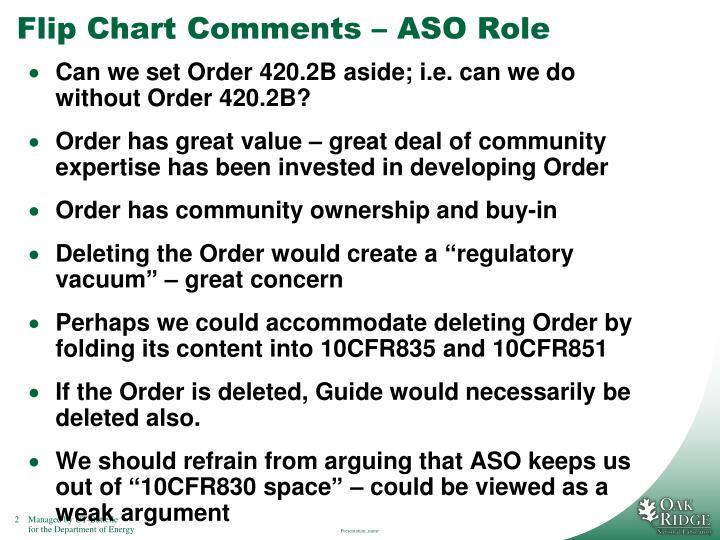 Flip chart comments aso role