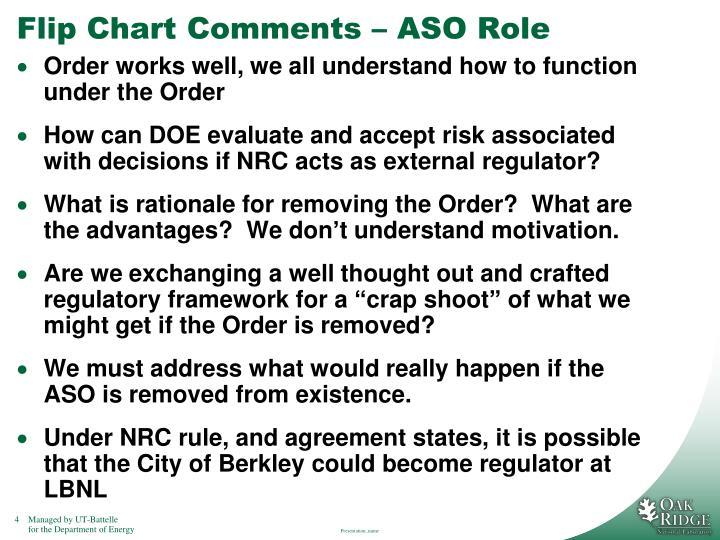 Flip Chart Comments – ASO Role
