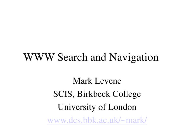 www search and navigation n.