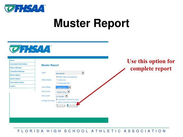 Muster Report