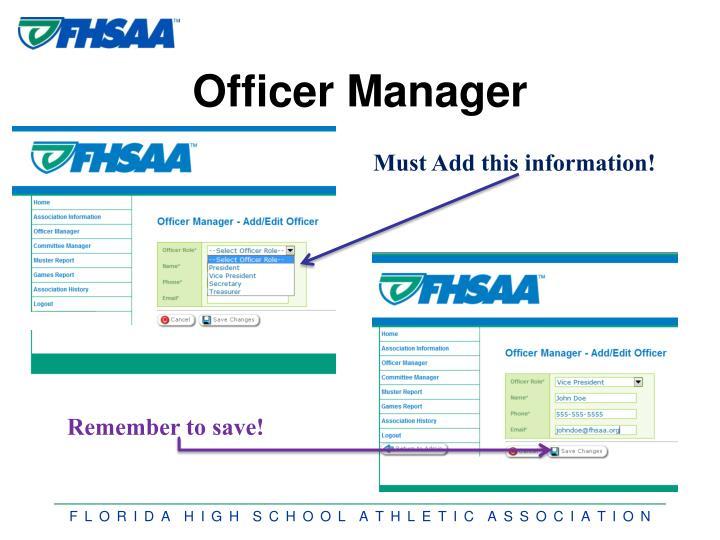 Officer Manager