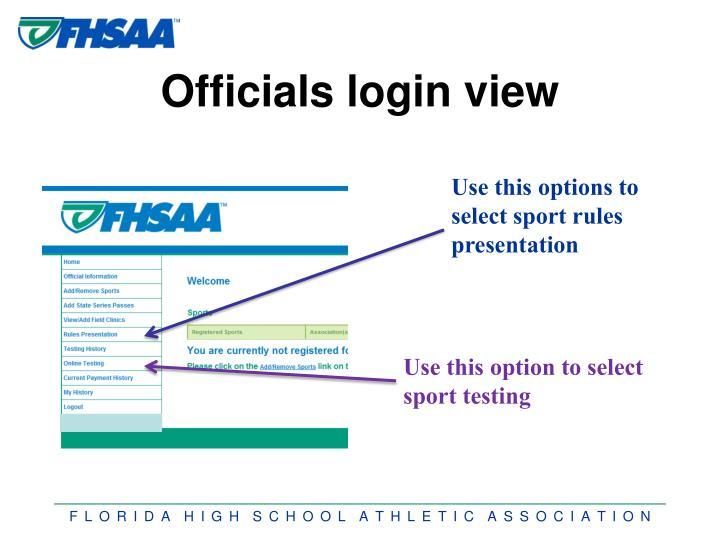 Officials login view