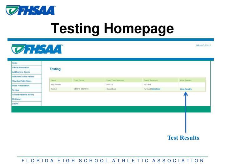 Testing Homepage