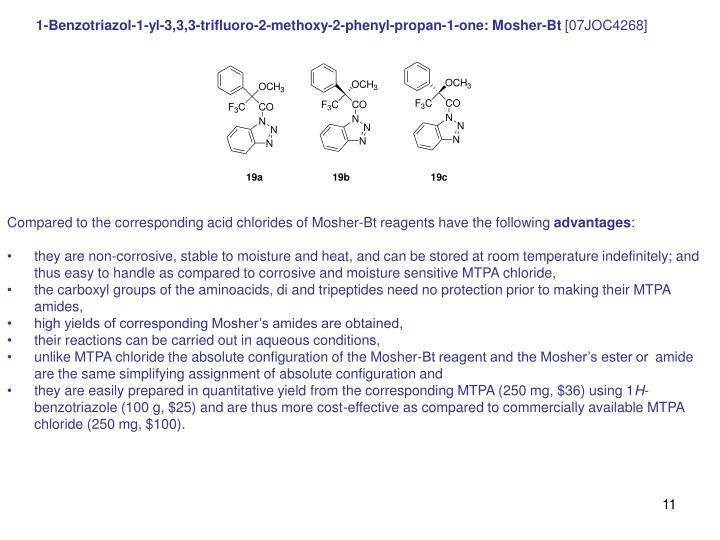 1-Benzotriazol-1-yl-3,3,3-trifluoro-2-methoxy-2-phenyl-propan-1-one: Mosher-Bt