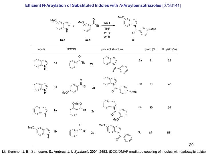 Efficient N-Aroylation of Substituted Indoles with