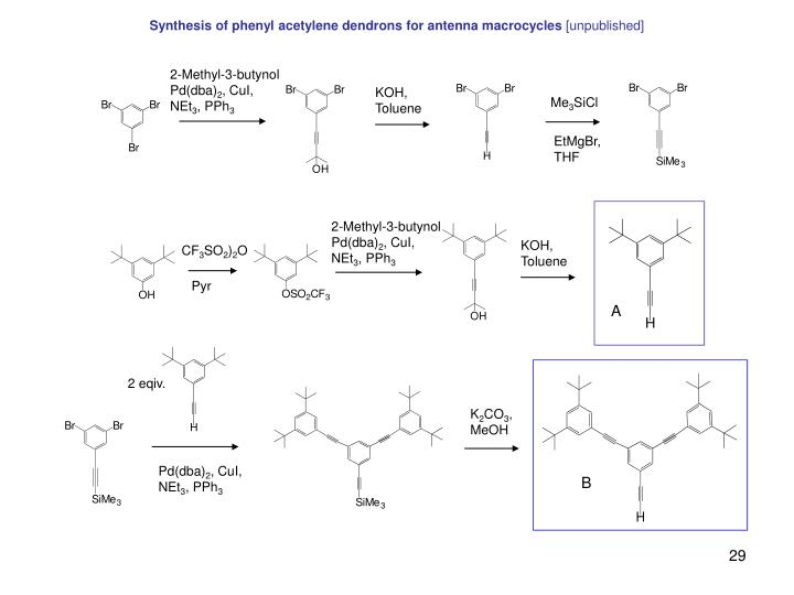 Synthesis of phenyl acetylene dendrons for antenna macrocycles