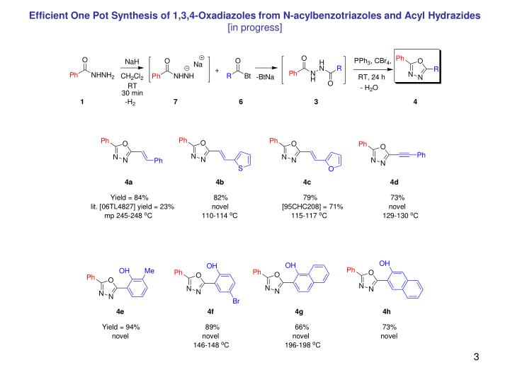 Efficient One Pot Synthesis of 1,3,4-Oxadiazoles from N-acylbenzotriazoles and Acyl Hydrazides