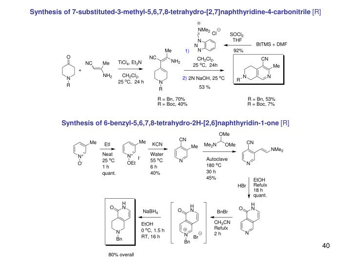 Synthesis of 7-substituted-3-methyl-5,6,7,8-tetrahydro-[2,7]naphthyridine-4-carbonitrile