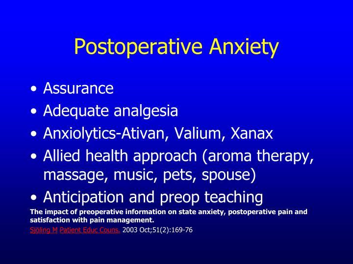 Postoperative Anxiety
